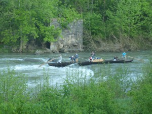 "The Batteau ""Slate River"" running a rapid on the Maury River, Spring 2013."