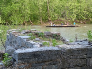 "The batteau ""Slate River"" passes by a beautiful stone lock on the Maury River, Spring 2013."