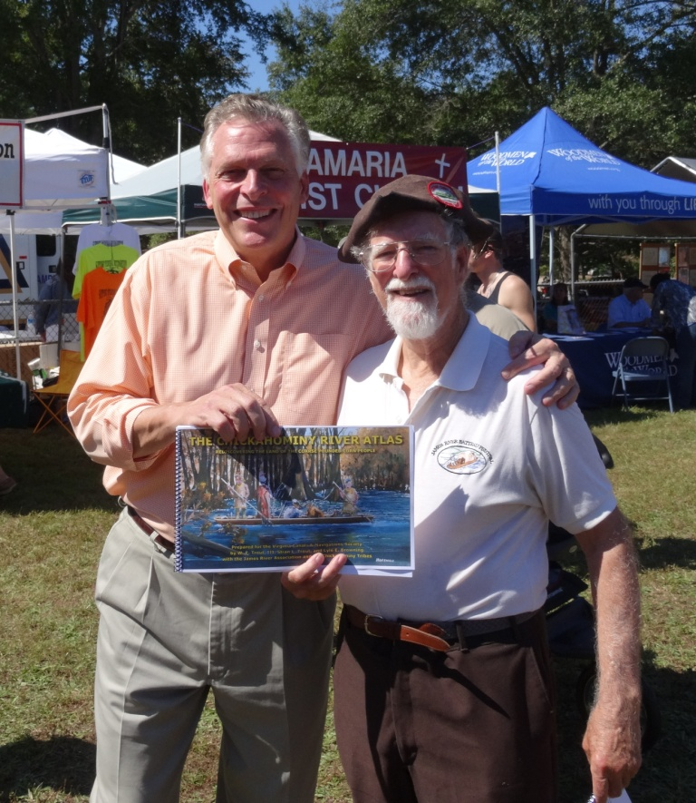 Virginia Governor Terry McAuliffe (left) and VC&NS Trustee Dr. Bill Trout at the 63rd annual Chickahominy Fall Festival and Pow Wow